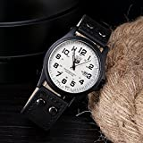 ZooooM 腕時計 メンズ クォーツ フェイク レザー ヴィンテージ 風 ダブル ピン バックル 男性用 皮 革 ファッション カジュアル ( ブラック ) ZM-SANWONY1776-BK
