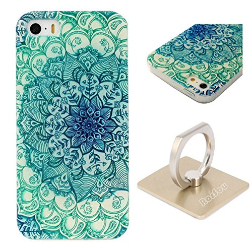 iPhone SE Case, iPhone 5s Case, iPhone 5 Case, RorSou [Slim Fit] [Scratch Resistant][Soft TPU Silicone]Hybrid Flexible Grip Protective Clear Bumper Cover +Phone Ring Stand+1 Earphone Dust Plug(Flower) (Marvel Silicone Iphone 5s Case compare prices)