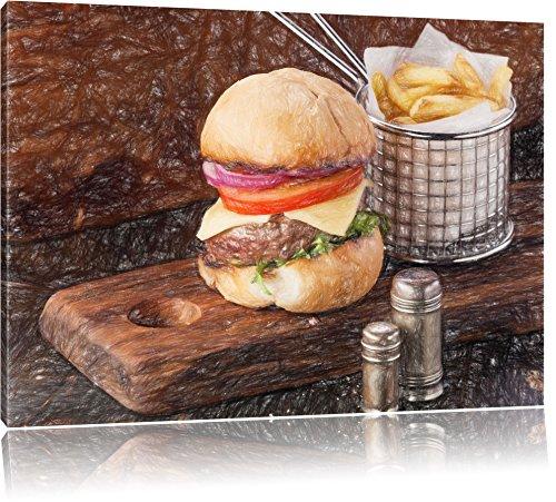 Cheeseburger avec frites effet Bunstift, format: 120x80 sur toile, XXL énormes Photos complètement encadrées avec civière, impression d'art sur murale avec cadre, moins cher que la peinture ou une peinture à l'huile, pas une affiche ou une bannière,