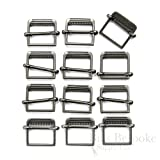 Set of 12 Slide Style Metal Buckles, Antique Silver (Color: Antique Silver)
