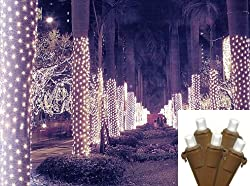 2' x 8' Pure White LED Net Style Tree Trunk Wrap Christmas Lights - Brown Wire