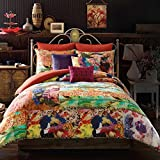 3-Piece-King-Orange-Blue-Pink-Willow-Comforter-Mini-Set-Floral-Abstract-Pattern-Cotton-Material-Bohemian-Style-High-Class-Luxurious-Bedding-Machine-Washable-Multicolor