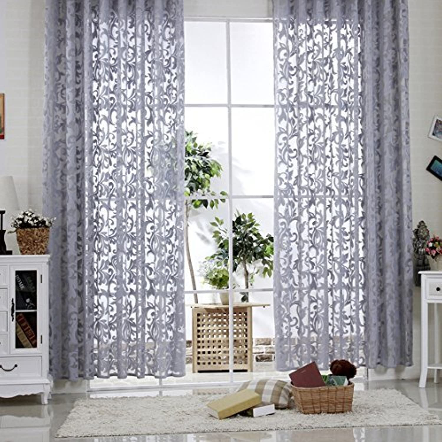 r lang slot top modern jacquard voile curtains grey 48 drop sold by the meter by r lang. Black Bedroom Furniture Sets. Home Design Ideas