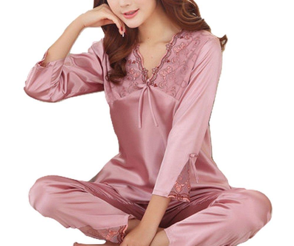 Lily レディース 長袖 ツルツル 肌触り パジャマ