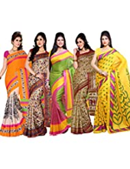 AISHA Printed Fashion Art Silk Multicolor Sari (Pack Of 5) - B00TYAJ1EI
