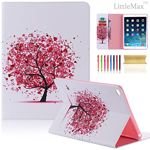 iPad Air 2 Case,LittleMax(TM) Flip Leather Folio Wallet Case [Kickstand] Slim Card Holder Protective Case Cover for iPad Air2/ iPad 6 [Free Cleaning Cloth,Stylus Pen]-#1 Heart Tree (Cool Ipad Air 1 Cases compare prices)