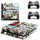 CAN® Ps4 Console Designer Protective Vinyl Skin Decal Cover for Sony Playstation 4 & Remote Dualshock 4 Wireless Controller Stickers - Grand Theft Auto V GTA 5