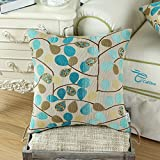 "Euphoria Home Decor Cushion Cover Throw Pillow Case Shell Luxury Chenille Cute Leaves Ecru Teal Color 18"" X 18"" Reversible"