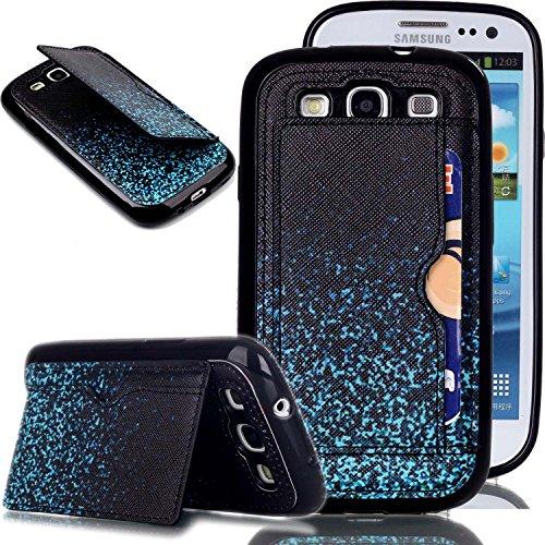 Galaxy S3 Hülle, Galaxy S3 Neo Hülle, Galaxy S III Hülle,Galaxy S III Neo Hülle,ISAKEN Galaxy S3 Hülle Muster, Handy Case Cover Tasche for Galaxy S3, Bunte Retro Muster Druck Back PU Leder Zurück Tasche Case Hülle mit Standfunktion Kartenfächer Kreditkarte Schlitz Halter Hülle Case für Samsung Galaxy S3 I9300 / S3 Neo i9301 - Schwarz Blau Himmels Stern