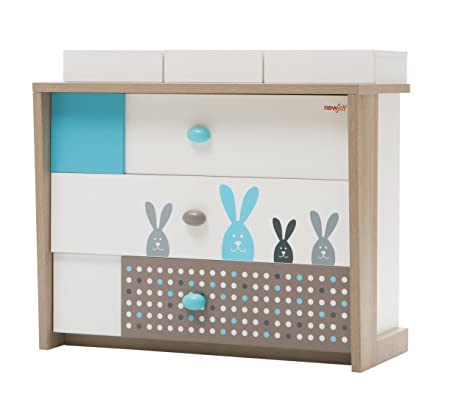 New Joy Blue Bunny Children Chest of Drawers, 95 x 106 x 52 cm, White