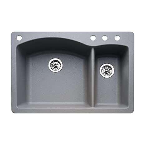 Blanco 440198-4 Diamond 4-Hole Double-Basin Drop-In or Undermount Granite Kitchen Sink, Metallic Grey
