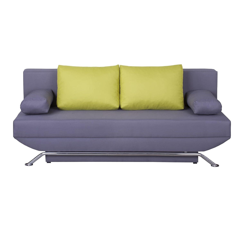 Schlafsofa Schlafcouch Sofa Couch LEVI, in grau mit grünen Kissen, Metallfüße in Chrom, 2-Sitzer, Schlaffunktion und Bettkasten kaufen
