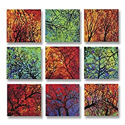 Neron Art - Handpainted Abstract Oil Painting on Gallery Wrapped Canvas Group of 9 pieces - Southampton 36X36 inch (91X91 cm)