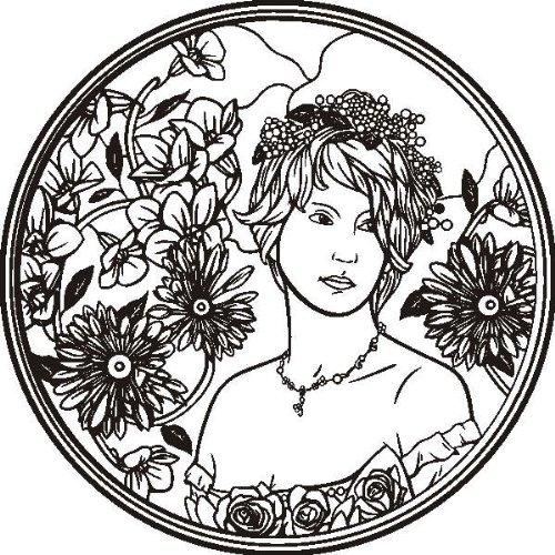 Imagen 1 de Etiqueta de la pared d27 ornamento con la mujer bonita 40x39 cm