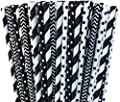Black and White Stripe and Polka Dot Paper Drinking Straws- Birthday Over the Hill Wedding Party Supply 100% Biodegradable-7.75 inches - Pack of 100