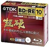 TDK  LoR 録画用ブルーレイディスク 超硬シリーズ BD-RE DL(長時間2層ディスク)  50GB 1-2倍速 ホワイトワイドプリンタブル 10枚パック 5mmスリムケース ATBEV-50HCPWA10Z