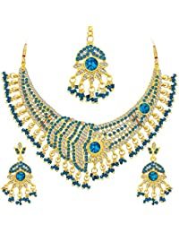 Sukkhi Shimmering Gold Plated AD Necklace Set For Women