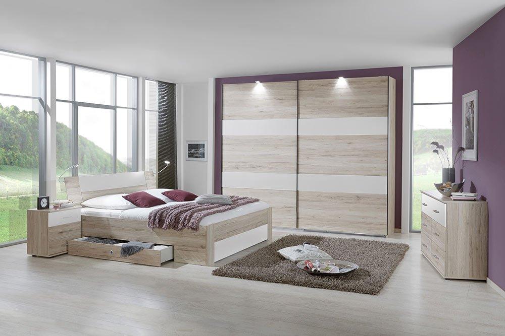 4-tlg-Schlafzimmer in San Remo-Eiche-NB mit Abs in Alpinweiß, Schwebetürenschrank B: 225 cm, Bett mit Schubkästen B: 180 cm, 2 Nachtschränke B: 52 cm günstig online kaufen