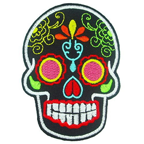 Day of the Dead Mexican Sugar Skull Iron on Embroidered Patches / Black (Paint By Number Cactus compare prices)