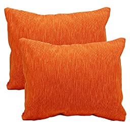 Set of 2 Orange Throw Pillow Cushion Covers Cases for Sofa - Hand Woven Cotton Bedding Accessories