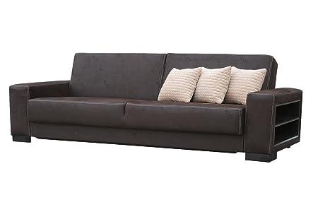 Sofa Matino in dunkelbraun mit Bettfunktion und Staukasten – Abmessungen: 233 x 90 cm (L x B)