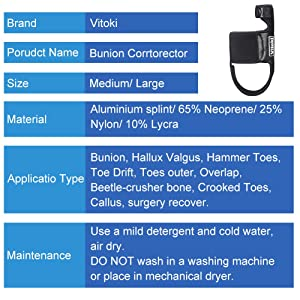 Vitoki Bunion Corrector Adjustable Bunion Splint Unisex Hallux Valgus Corrector for Home Use Nighttime Use 1 Pair (Large) (Tamaño: Large)