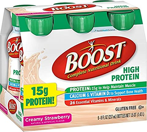 BOOST High Protein Nutritional Energy Drinks, Strawberry 8 oz, 6 ea (Pack of 10)