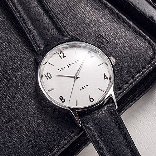 Bergmann Brand Vintage Mens Watches Silver Dial Black Leather Wrist Watch Classic 1953 3