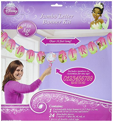 Amscan Dazzling Disney Tiana Enchanted Jumbo Add-An-Age Letter Birthday Party Banner Decoration (1 Piece), 10 1/2', Pink/Green (Tiana Party Supplies compare prices)