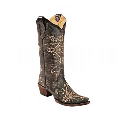 Corral Womens Scroll Embroidery Western Boots