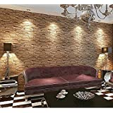 Blooming Wall: 20.8 In*32.8 Ft=57 Sq Ft, Wallpaper Faux Rust Tuscan Brick Wall Paper Roll,Looks Real Up!Brown