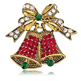 BERRICLE Vintage Inspired Christmas Bells in Crystal Brooch Pin