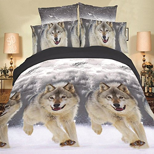 4PCS 3D Snow Wolf Bedding Set Polyester Comforter Sets Prints Duvet Cover Set Queen Size(1PC Bed sheet/1PC Comforter Cover/2 PCS Pillow Covers)