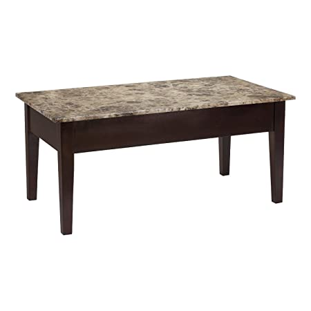 Premium Coffee Table Lift Top Storage for Living Room with Marble Top Wood Bottom Furniture in Modern Contemporary and Unique Design