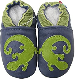Carozoo baby boy soft sole leather infant toddler kids shoes Gecko Blue 2-3y