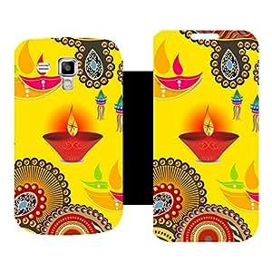 Skintice Premium Flip Cover with a Designer hi-res printed Vinyl Wrap-around forSamsung Galaxy S Duos 2 S7582, Design - Diwali Textures