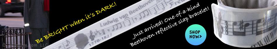 Beethoven reflective slap wrap bracelet - pedestrian reflector for runners, walkers and bikers