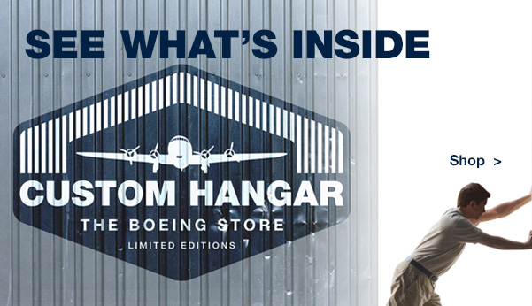 The Custom Hangar offers a select collection of authentic, limited-edition Boeing artifacts, collectibles, and apparel derived from classic Boeing airplanes and designed for true aviation fans.