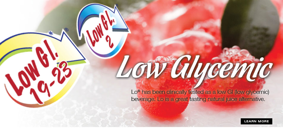 Low glycemic index rating for Lo, Low Glycemic Real Fruit Beverage