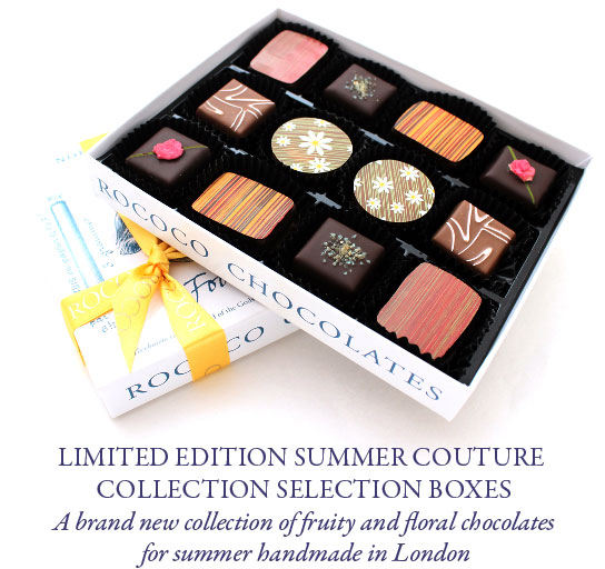 A brand new collection of fruity and floral chocolates for summer handmade in London