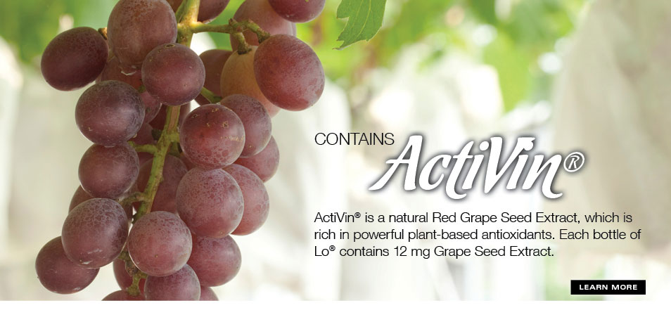 Red grapes, the source of Activin, found in Lo, Low Glycemic Real Fruit Beverage