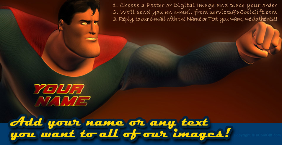 Add Your Name to a Superhero Poster by aCoolGift.com