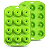 Silicone Mini Donut Maker Baking Cupidove Muffin Pan Tray 12 Holes Pure Food Grad Green makes12 Full Size Donuts, BPA Free, FDA & German LFGB Approved (Color: Green, Tamaño: 12 Holes)