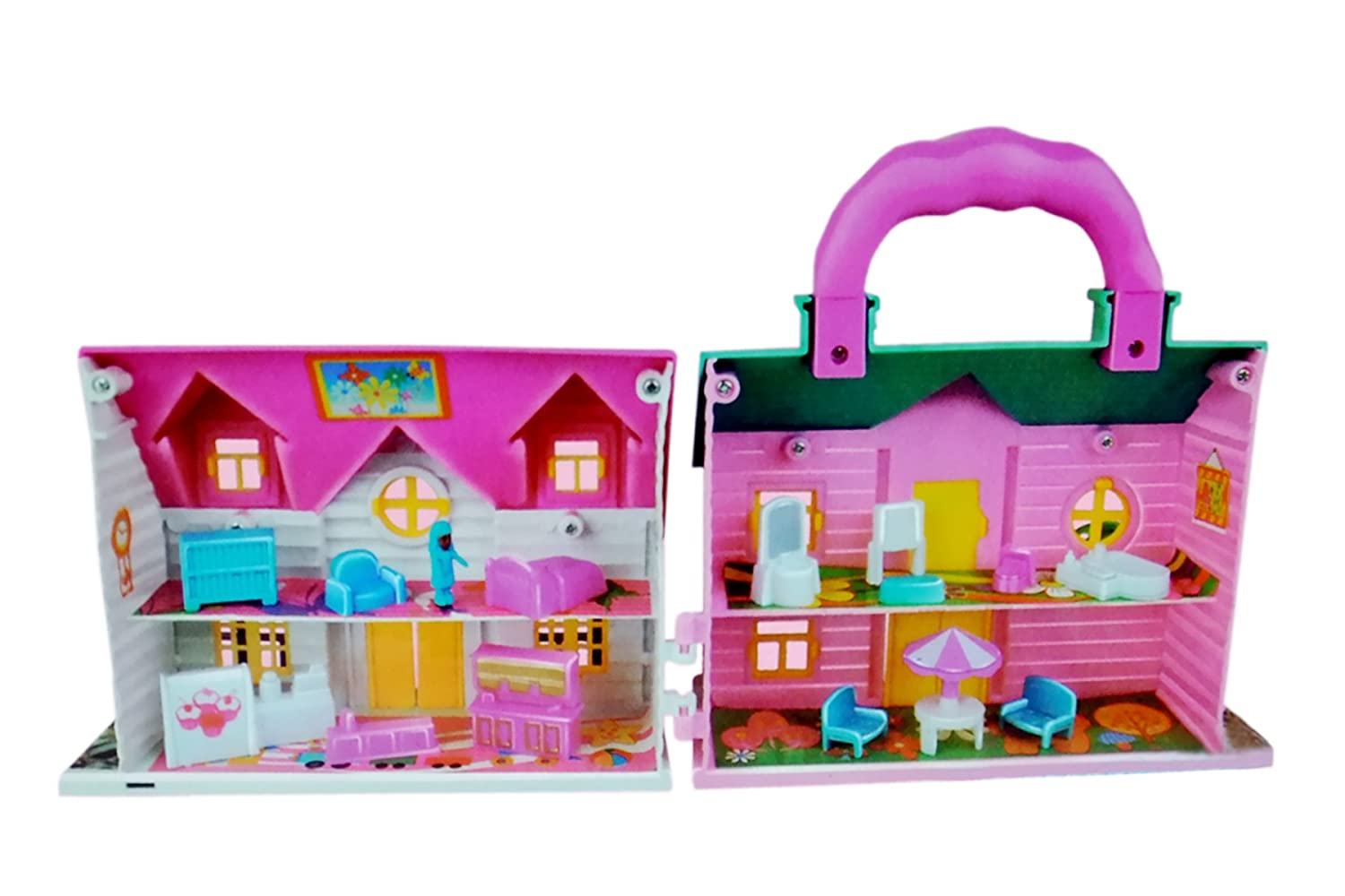 Amazon: Sunshine Mini Foldable Twin-sided Doll House with Toy Accessories @ Rs.346/-