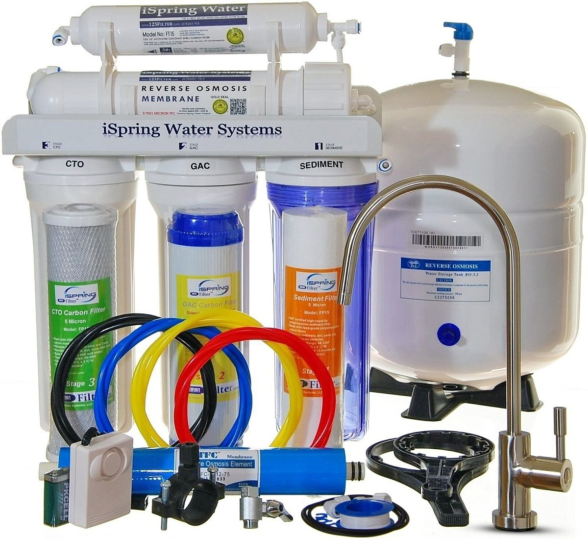 iSpring RCC7 - Built in USA, WQA Certified Reverse Osmosis 5-Stage 75GPD Under-Sink Water Filter
