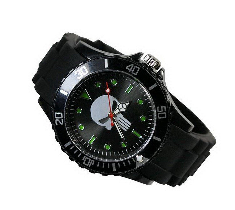 New Fashion Design GBB29 Marvel Super Hero Punisher Skull Boy Man Metal Black Silicone Watch Wrist
