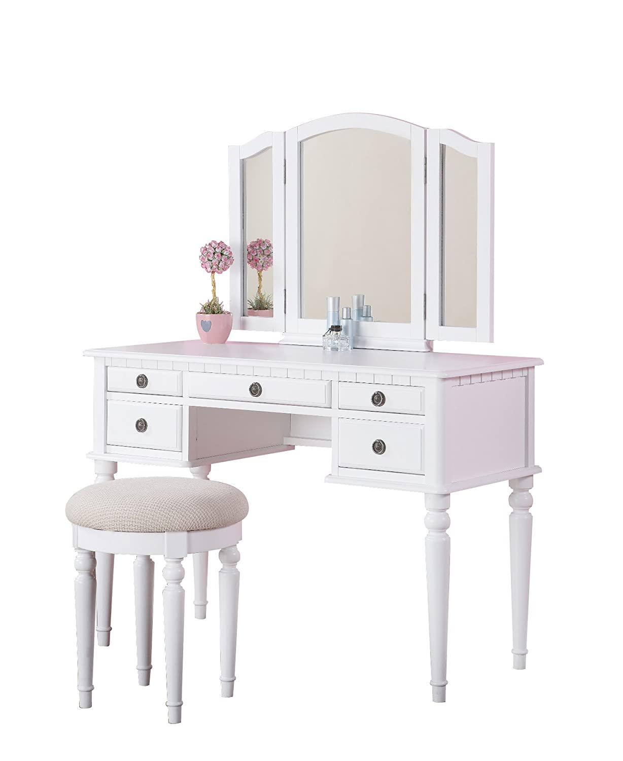 White make up vanity table sets with mirror and stool for Vanity table set