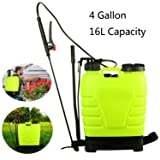 Tomasar Portable Pressure Knapsack Hand Piston Pump Lawn Garden Farm Sprayers With 3 Differrent Spray Head, US STOCK (4-Gallon 16L)