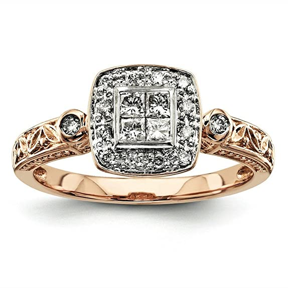 14ct Rose Gold Multi-stone Diamond Engagement Ring