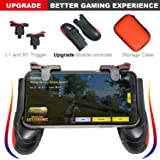 Mobile Game Controller [Upgrade Version] - TaiGeek PUBG Mobile Controller with Gaming Trigger,Gaming Grip for 4.5-6.5inch Android IOS Phones (1 Pair+1 Grip) (Color: black)